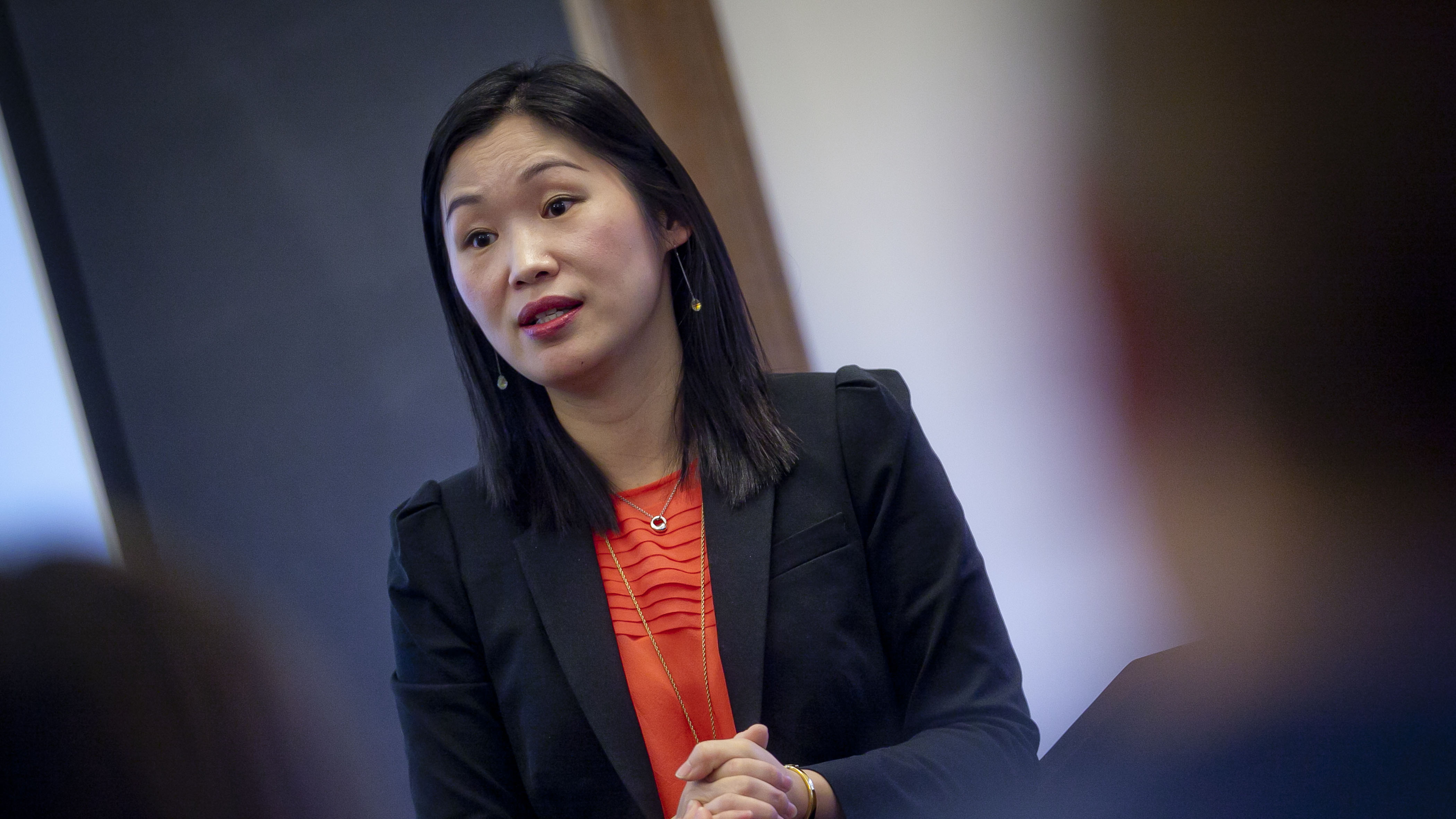 Professor Seo-Hyun Park, assistant professor of government and law, teaches in Kirby Hall of Civil Rights