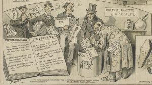 1884 cartoon of men paying a chemist to allow altered food items to be approved