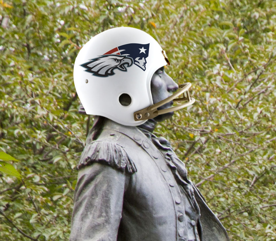 A statue of the Marquis de Lafayette wearing a football helmet with the logos for the Philadelphia Eagles and New England Patriots