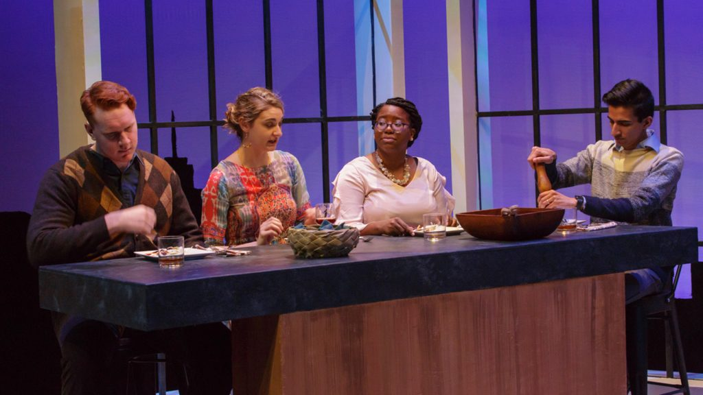 A dinner scene in the play Disgraced