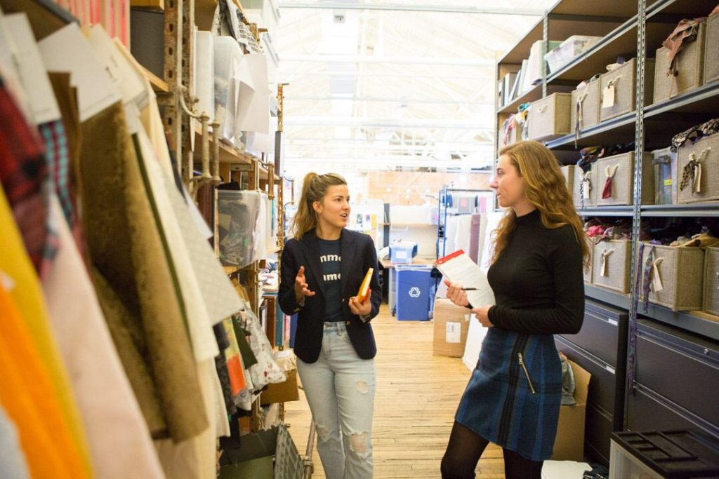 Olivia Hineman '19 and Aimee Smith '14 at Urban Outfitters' Philadelphia headquarters.
