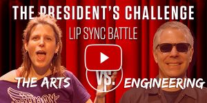Banner ad for arts vs. engineering lip sync video