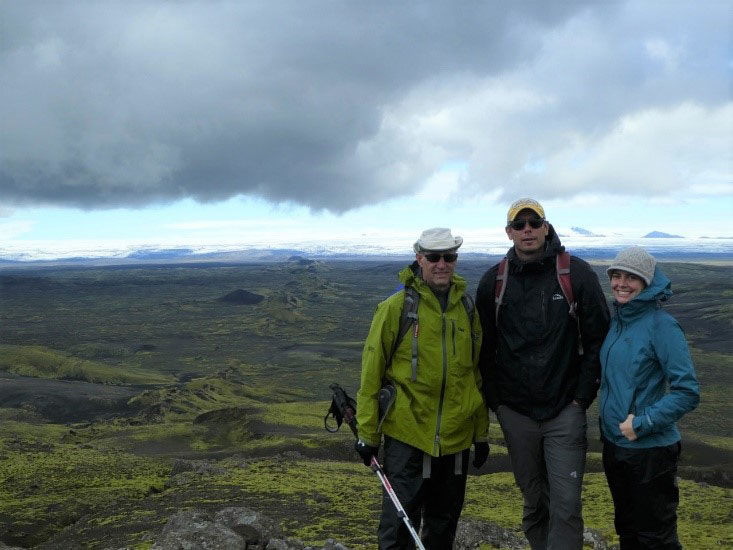Larry Malinconico, Dave Sunderlin, and Tamara Carley at Lakigigar, a volcanic fissure in the south of Iceland.
