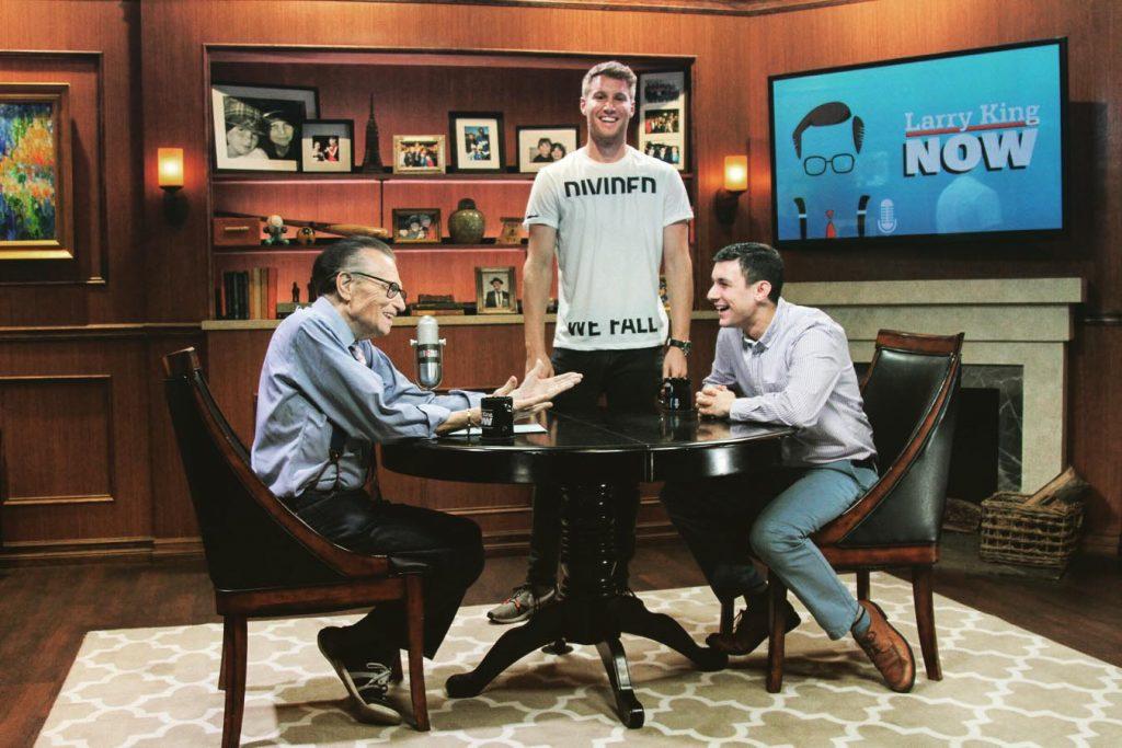 Larry King, Kyle MacLelland '11, and Matt Ackerman '18