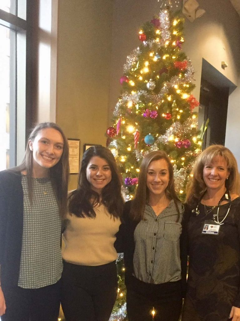 Whitney Gaydos '96, lead physician assistant in the cardiology group of Summit Medical Group Foundation in New Jersey, hosted Molly Conrad '20 (biology), Annie O'Dea '20 (neuroscience), and Nicole Lauricella '18 (biochemistry).