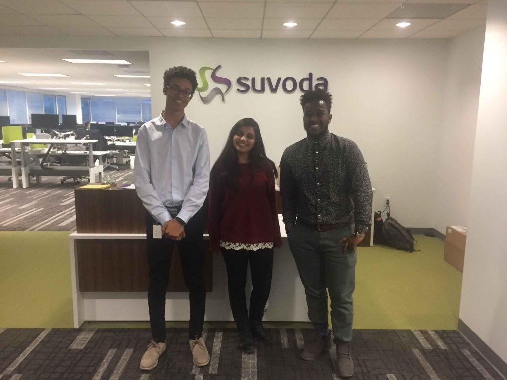 Maxwell McFarlane '19, Noureen Abdelrahman '19, and Robson Adem '19 at the Suvoda software company in Conshohocken, Pennsylvania