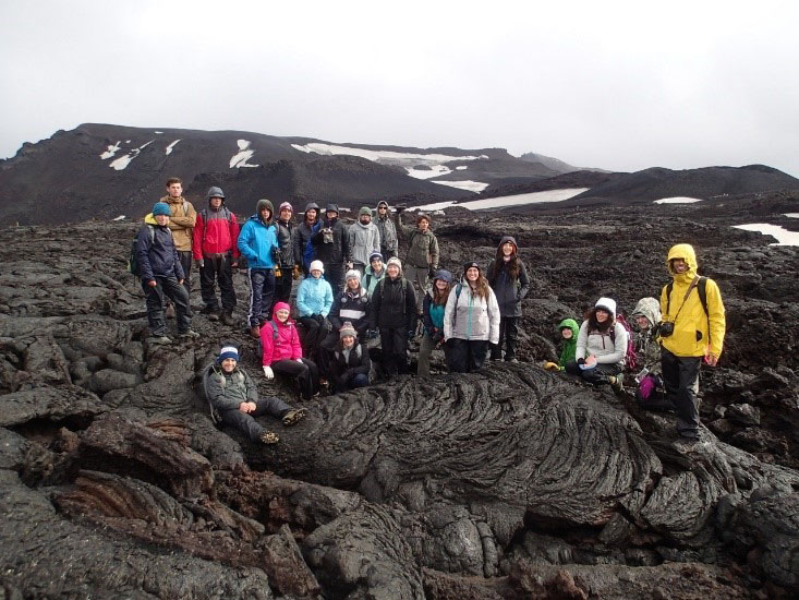 The class at the Vikrahraun lava flow in Iceland