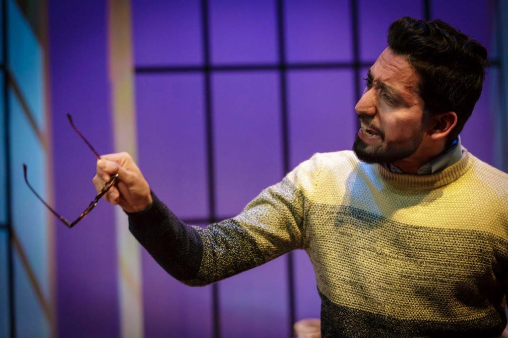 The character Amir in the play Disgraced speaks passionately.