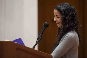 Laila Lalami, author of this year's Community Reading, Hope and Other Dangerous Pursuits, speaks at Colton Chapel.