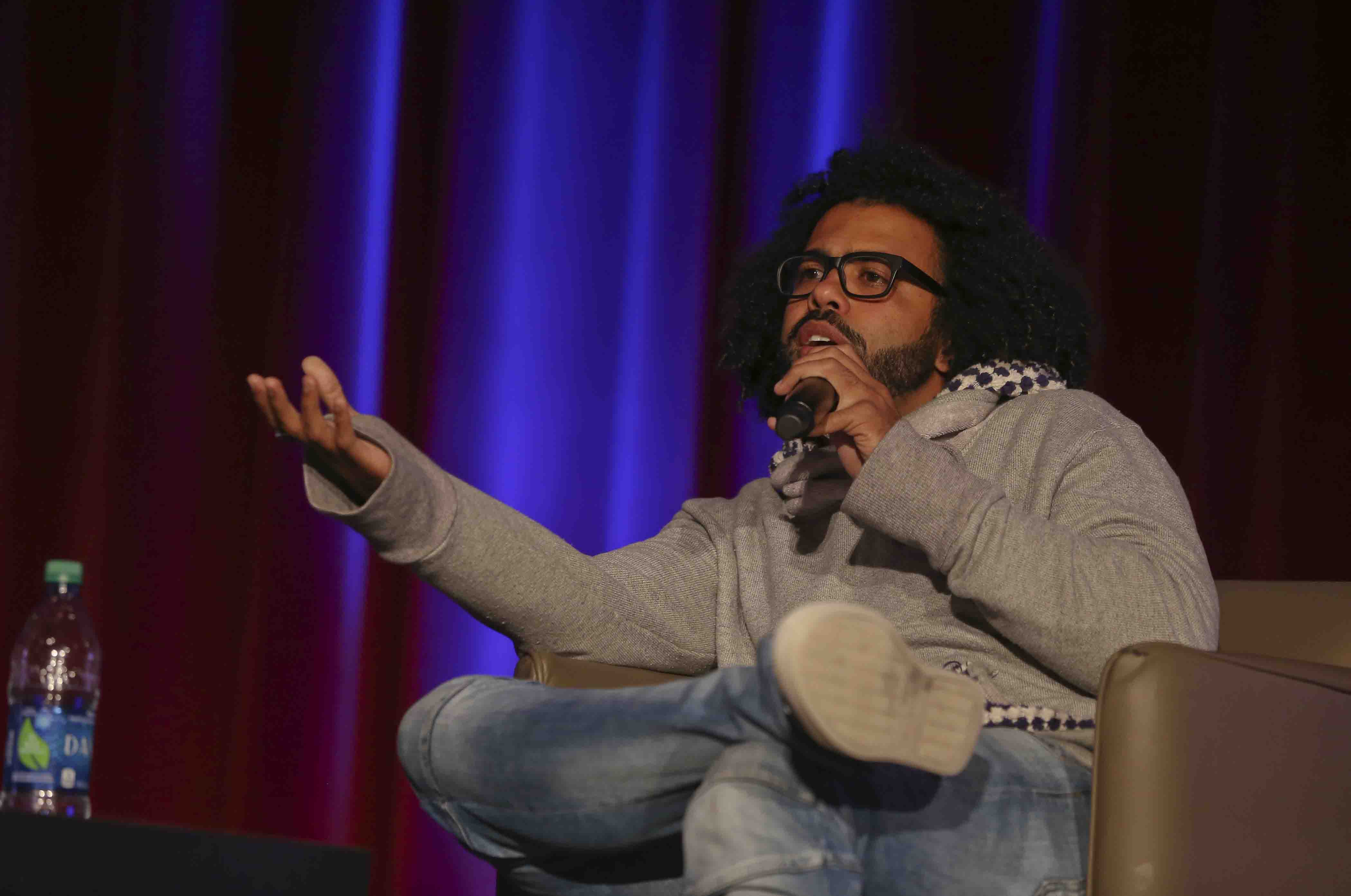 Hamilton star Daveed Diggs talks in Colton Chapel.