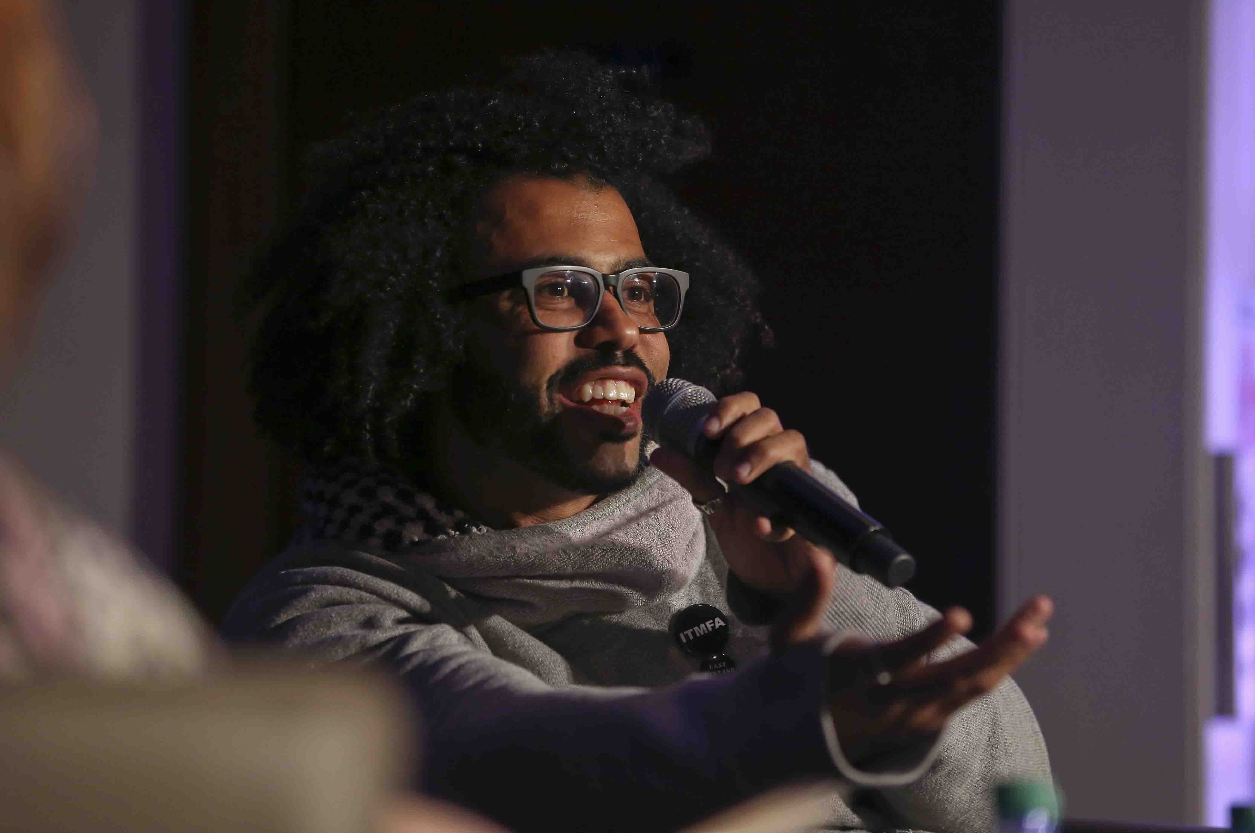 Hamilton star Daveed Diggs talks at Colton Chapel.