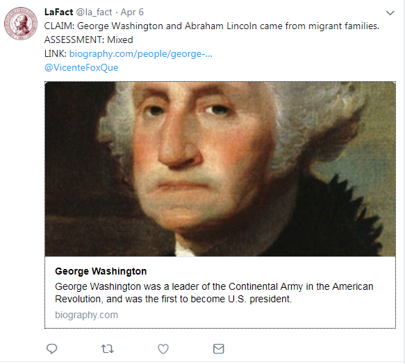 A tweet fact checking about Abraham Lincoln and George Washington being from migrant families