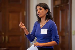 Nandini Sikand, associate professor of film and media studies, gives a talk at Lafayette Leadership Institute.