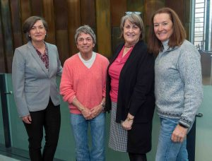 From left: Elaine Stomber '89, associate college archivist; Rita Mae Brown; Diane Shaw, College archivist; and Dr. Catherine Hanlon '79