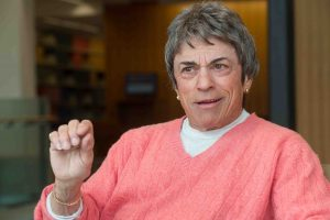 Pioneering feminist, activist, and author Rita Mae Brown answers questions during an interview.