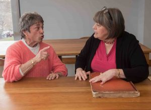 Pioneering feminist, activist, and author Rita Mae Brown talks with Diane Shaw, Lafayette College archivist and director of Special Collections.