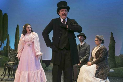 Actors rehearse the College Theater production of Oscar Wilde's The Importance of Being Earnest.