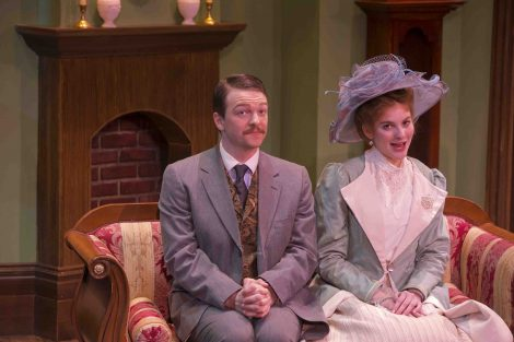 Actors rehearse for the College Theater production of Oscar Wilde's The Importance of Being Earnest.
