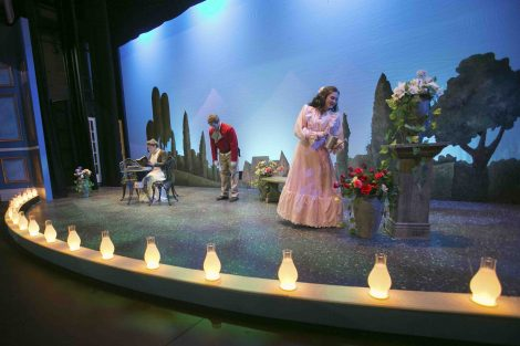 Students rehearse for the College Theater production of Oscar Wilde's The Importance of Being Earnest.