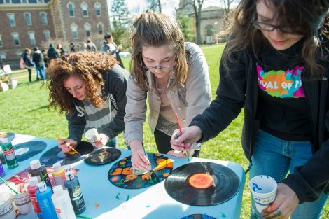 The Lafayette Association of Visual Artists and the Office of Sustainability hosted the annual Festival of Paint. This year the event had a theme of sustainable art as well as numerous opportunities to showcase students' creativity. Local food, art-based activities run by many student organizations, and live music were all featured, as well as opportunities to paint yourself, your friends or a t-shirt, as well as tye-dye, henna, and hair chalk stations.
