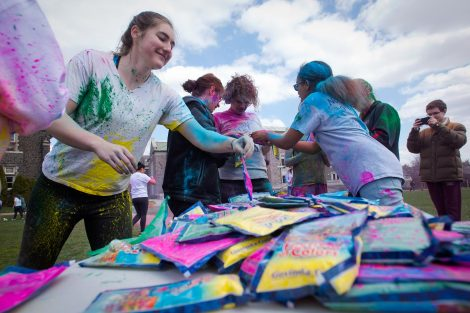 Students took part in the Student Movement Against Cancer's Color Run followed by the Holi Festival of Color on the Quad.