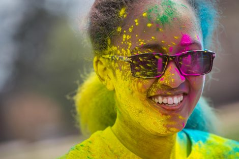 Students take part in the Student Movement Against Cancer's Color Run followed by the Holi Festival of Color on the Quad.