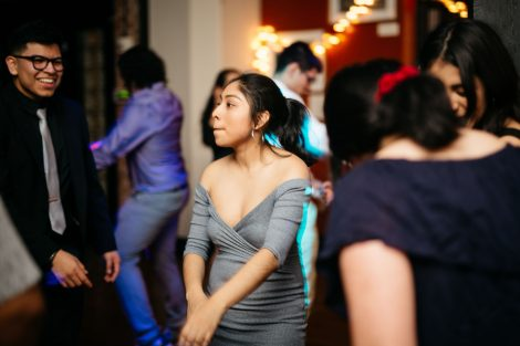 Two students dance at the Noche de Pasión semi-formal event sponsored by Hispanic Society of Lafayette.