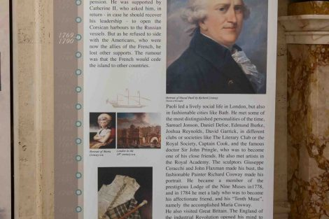 A poster about the life of General Pasquale Paoli that was donated to Lafayette College by the Corsica delegation.