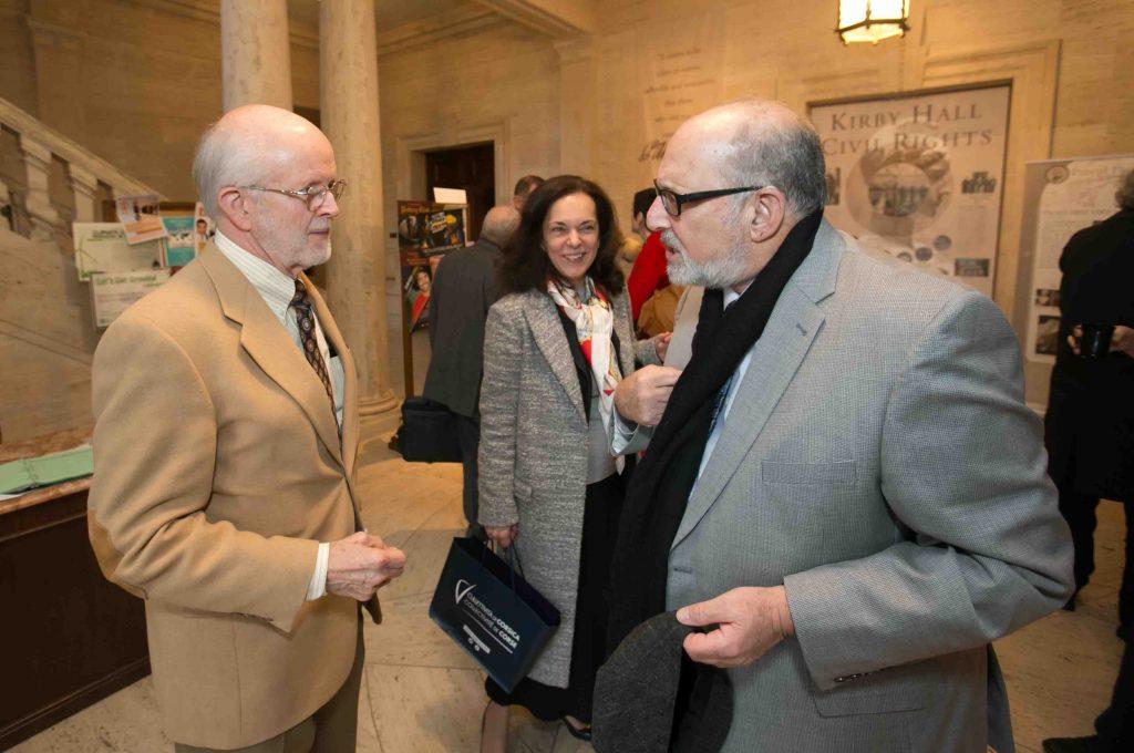 Ed Auble '61 speaks with Bob Weiner, Jones Professor of History.