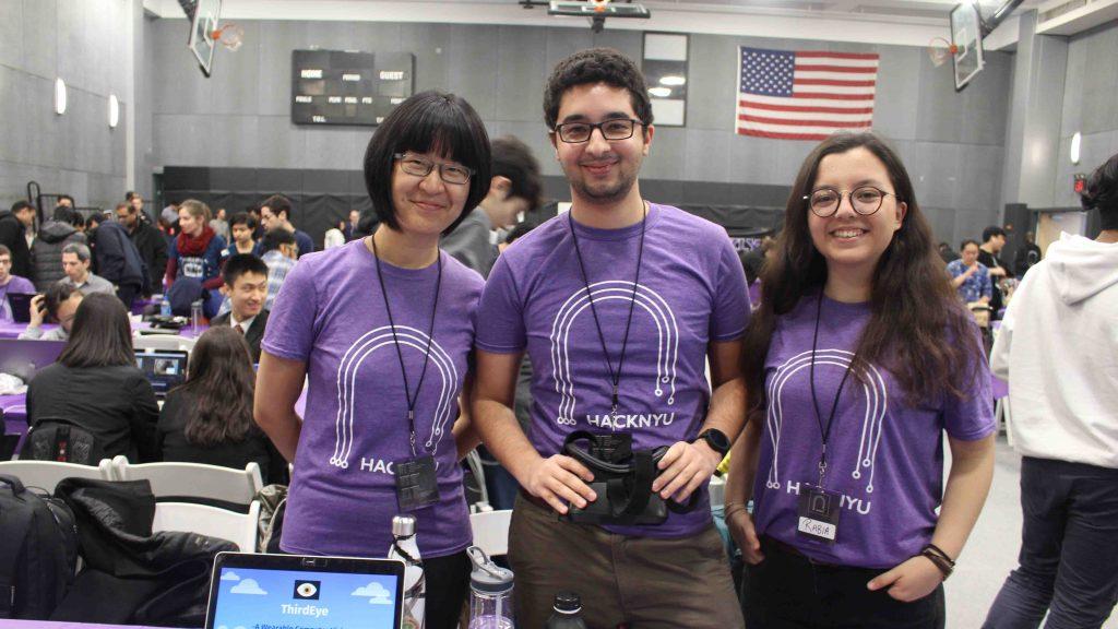 Computer science majors Danhui Zhang '18, Wassim Gharbi '92, Rabia Demirelli '21 at the HackNYU hackathon