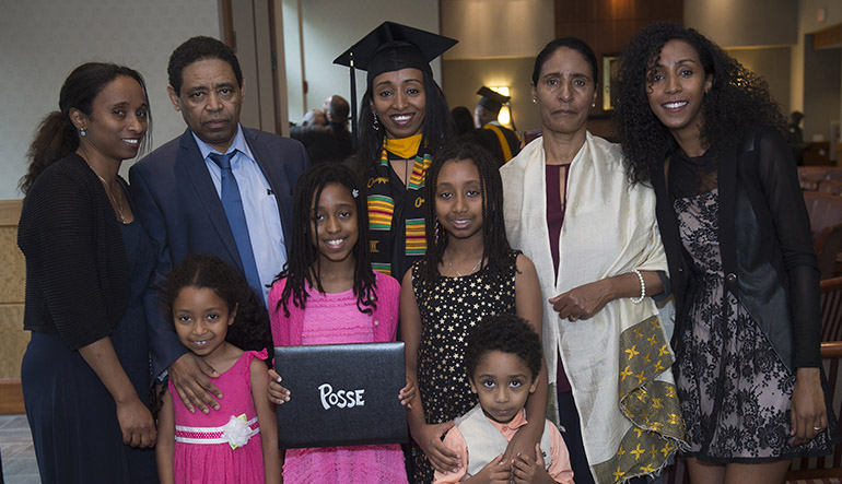 Posee grad with family