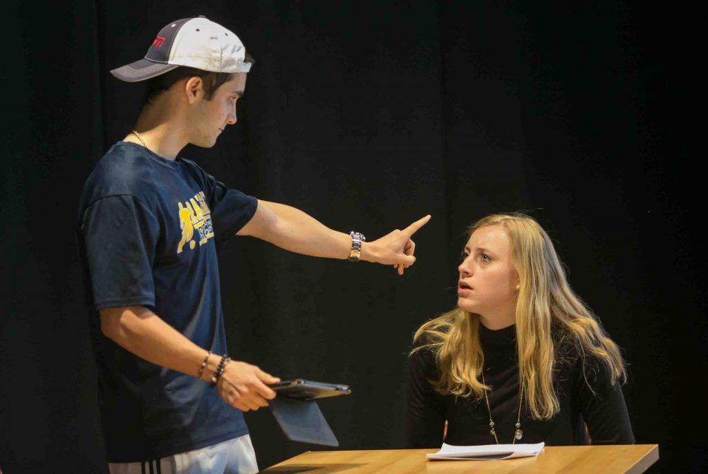 Brian Long '21 as Mike and Maddy Proulx '21 as his mother rehearse for Talking Points
