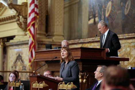 Lafayette College President Alison Byerly addresses the Pennsylvania House of Representatives at the State Capitol in Harrisburg.