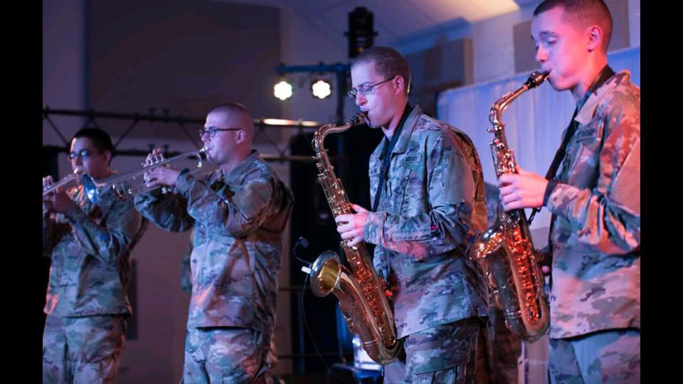 Ryan Dupuis plays saxophone in the Army School of Music.