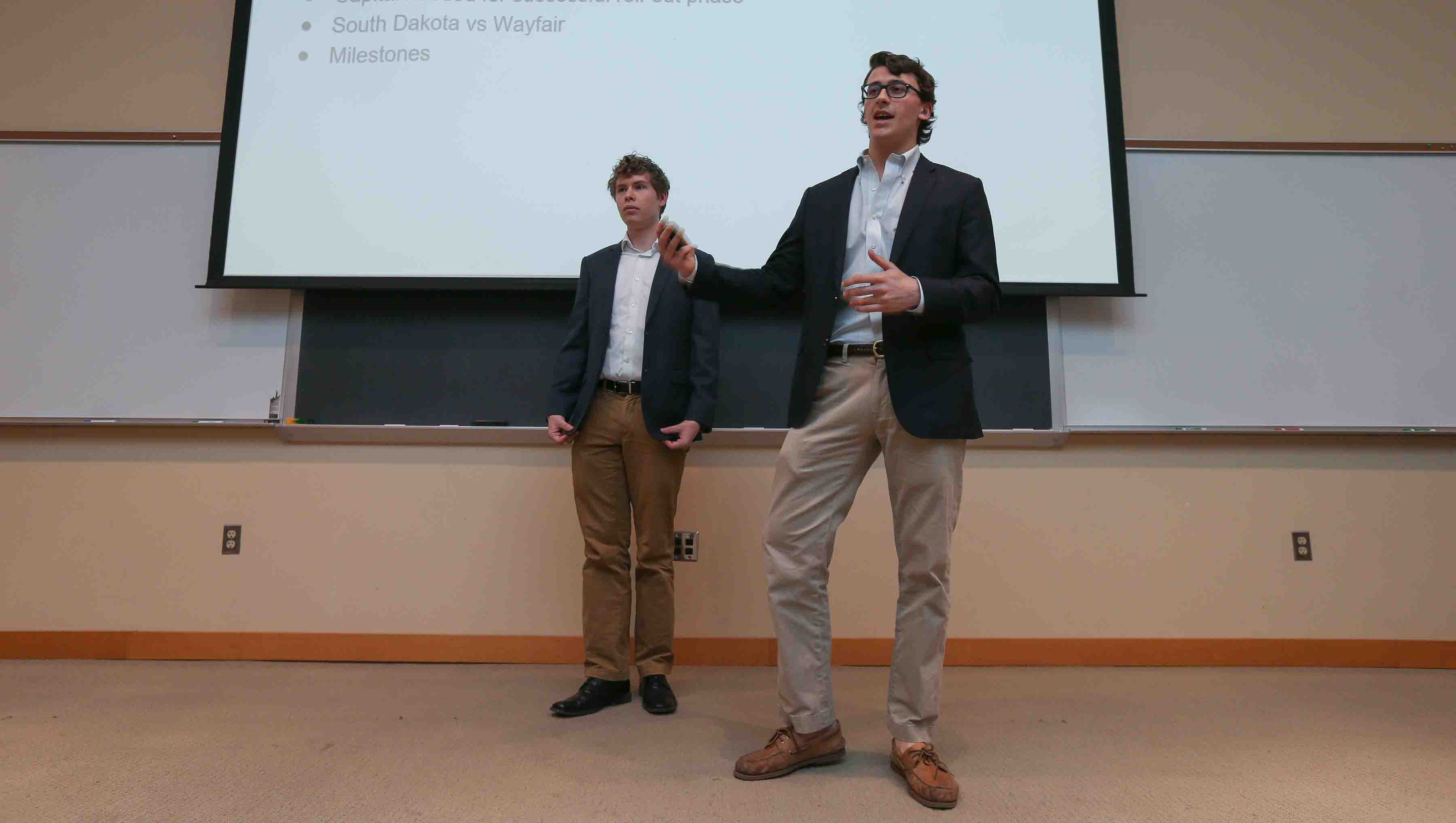 Jack Lapides and Charley Western present their business plan.
