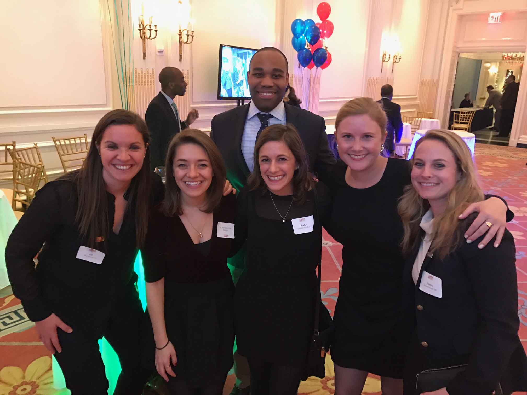 Lauren Steinitz '07 and other alumni at Lafayete's annual holiday party in New York City