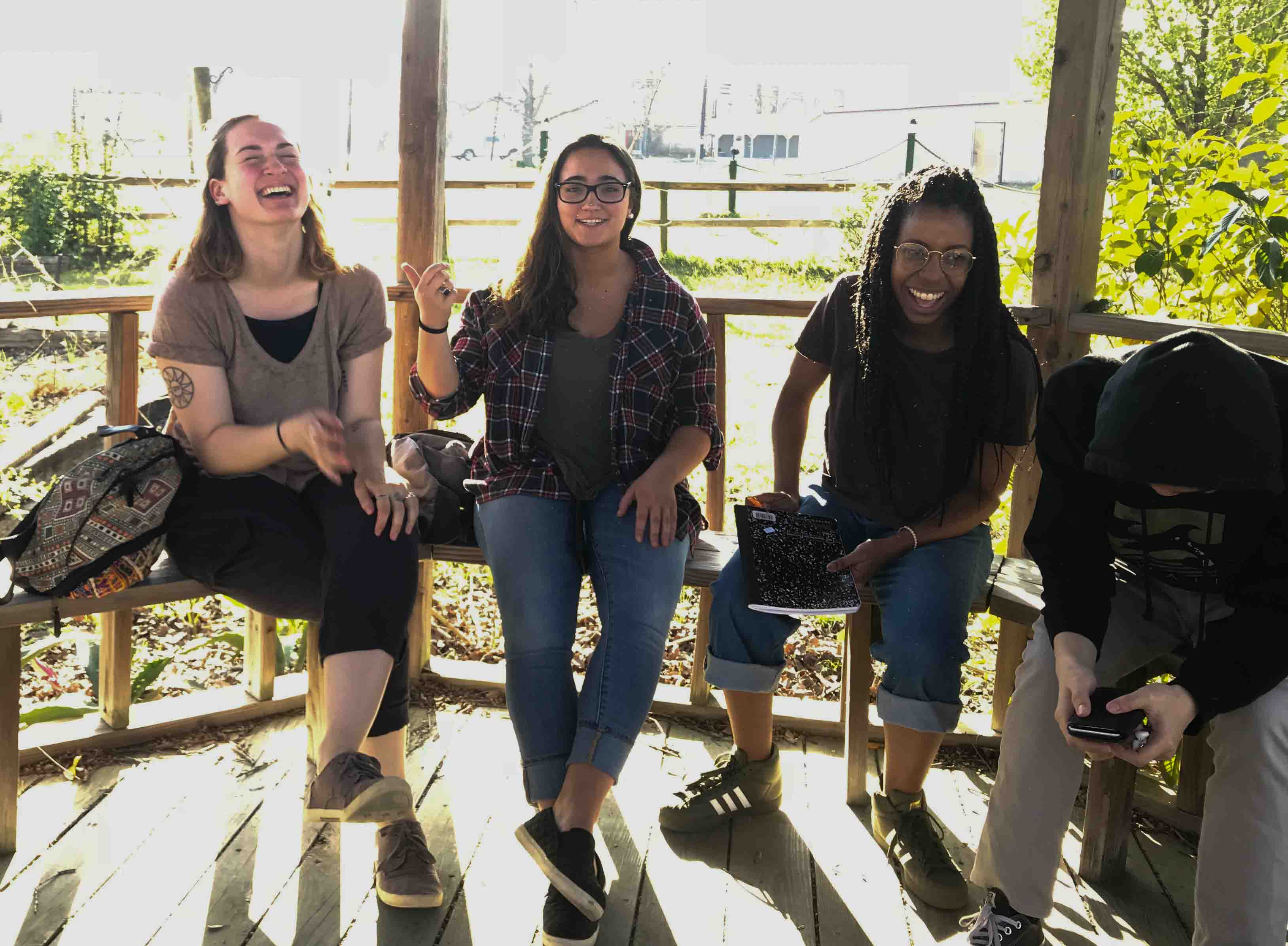 Students laugh during their Alternative School Break trip to serve and learn about the Texas criminal justice system.