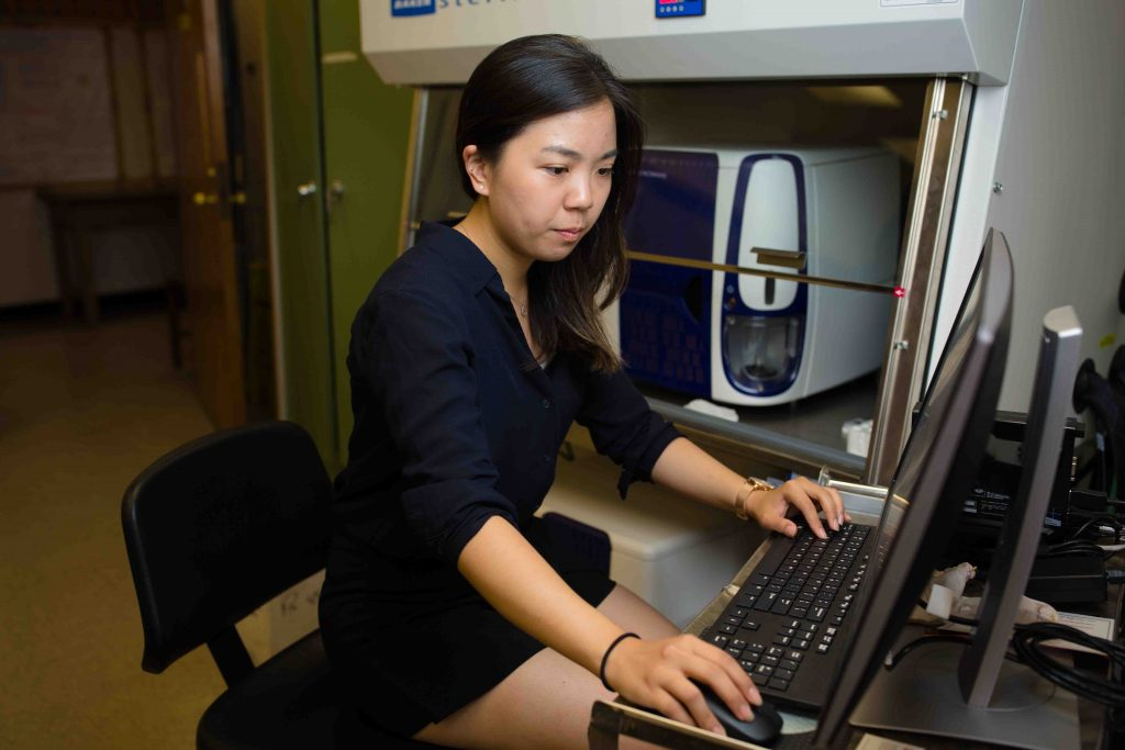Chenyu Zhang works at a desktop computer.