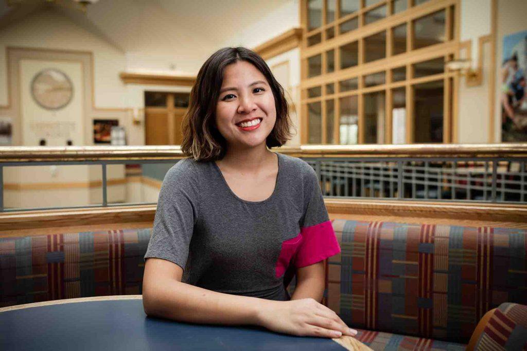 Rebecca Wai '18 sits in the Farinon Center.