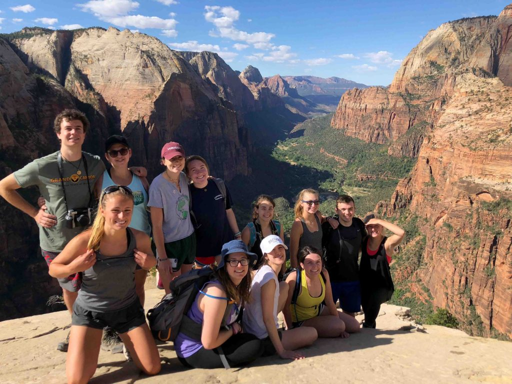 While in Zion, several students with professors Lawrence Malinconico and Dave Sunderlin opted to hike Angels Landing, renowned for its beauty and challenging nature. Hikers face steep drop-offs and switchbacks but are rewarded with views of the canyon's 270-million-year-old rock layers.