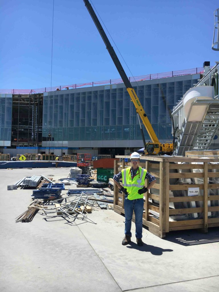 Daniel Figler '19 (engineering studies and economics) at a construction site during his internship with Skanska Underpinning and Foundation
