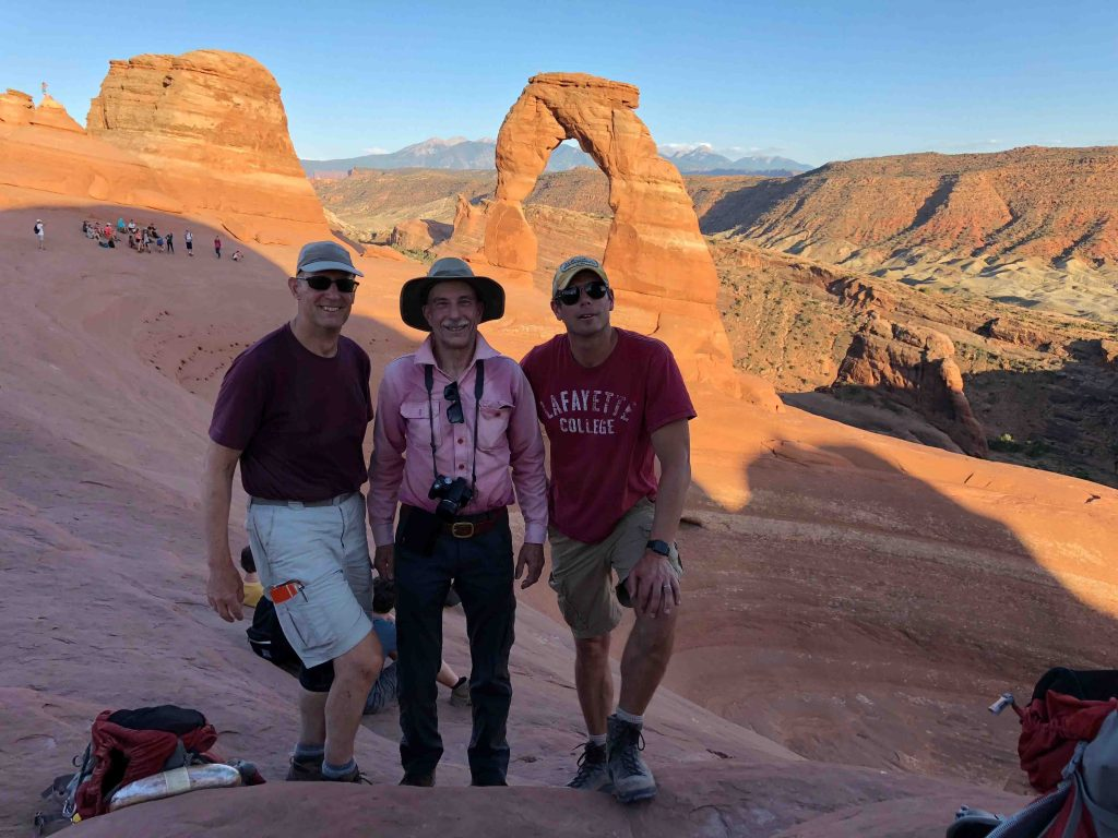 Geology graduate Charlie Bartberger '67 (center) drove from Denver to hike with the students and Professor Lawrence Malinconico (left) and Professor Dave Sunderlin (right) in Arches National Park.