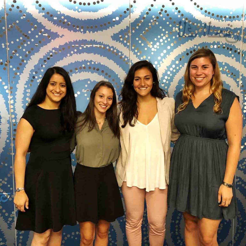 Interns Claire Grunewald '20 (international affairs and Spanish) and Emily LoPiccolo '18 (international affairs) at the Solidarity Center along with Program Officer and host Nalishha Mehta '98 and former intern and now full-time employee Jennifer Bognar '16