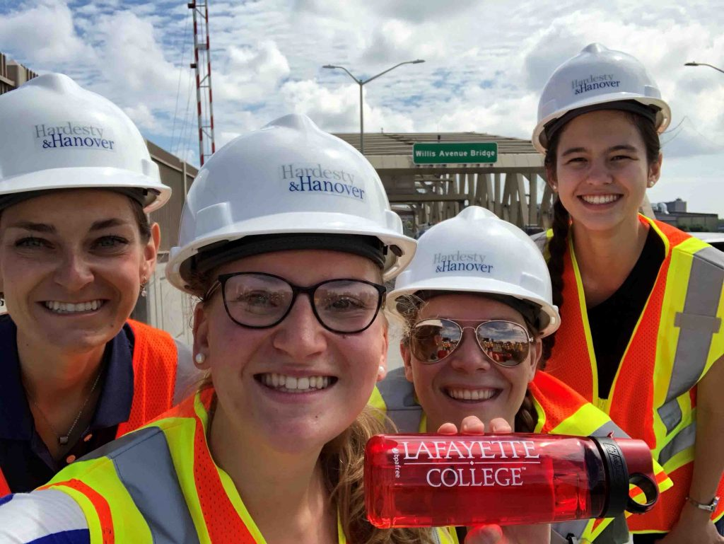 Kara Rosenthal '19 (civil engineering), Kari Schultheis '19 (civil engineering), and Katherine Lee '19 (electrical and computer engineering) interning at Hardesty Hanover, an infrastructure engineering firm, in New York City, pictured along with Megan Young '13.