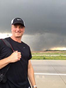Jeff Wasserman '86 stands near a gathering storm