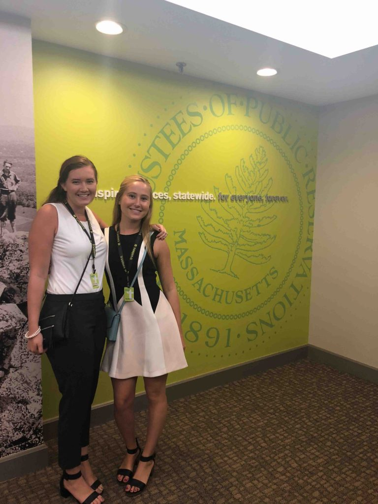 Emma Leeds '19 (environmental science and Spanish) and Lara Henderson '19 (environmental science) at their internship at The Trustees of Reservations, a conservation organization in Massachusetts