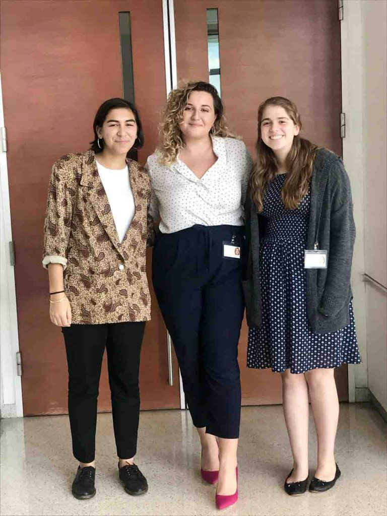 Olivia Guarna '19 (engineering studies and art), Mailinda Hoxha '19 (English and government and law), and Mallory Kastroff '20 (international affairs and religious studies), who interned with Acting Supreme Court Justice Alvin Yearwood '83 at Bronx County Hall of Justice in Bronx, N.Y.