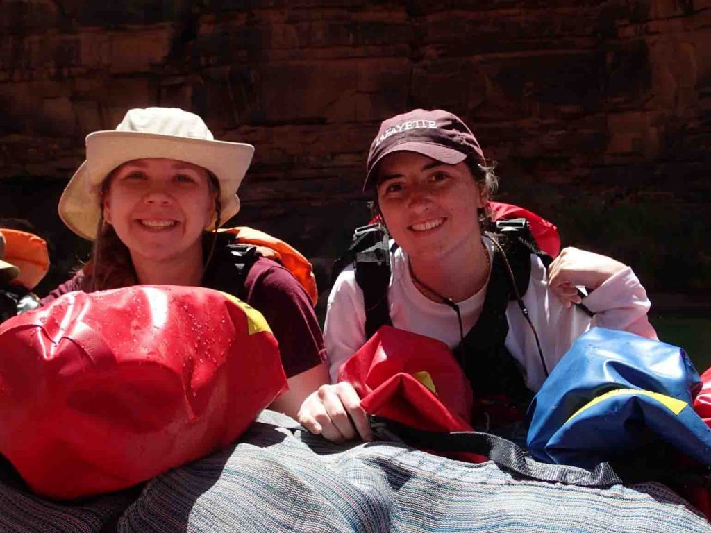 Belle Rein '20 and Allie Gibbons '21 aboard their raft on the Colorado River