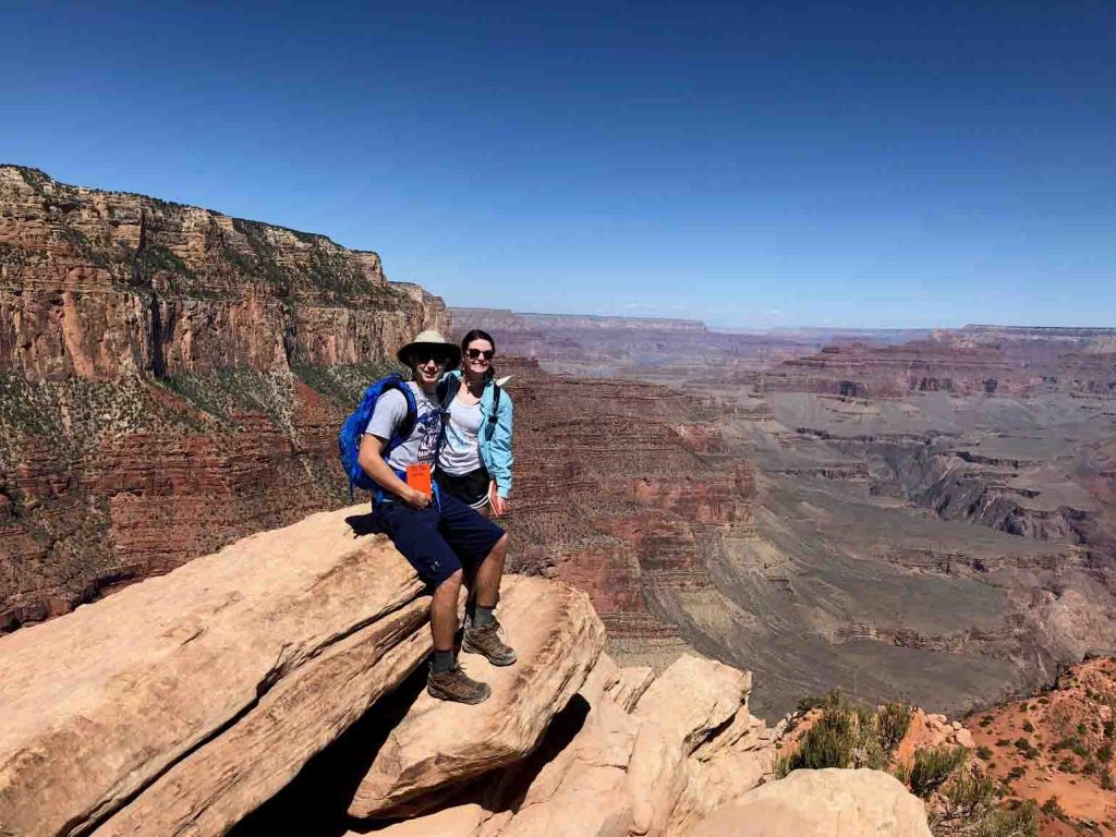 Bailey Wild '20 and Molly Martindale '19 on the South Kaibab Trail in the Grand Canyon