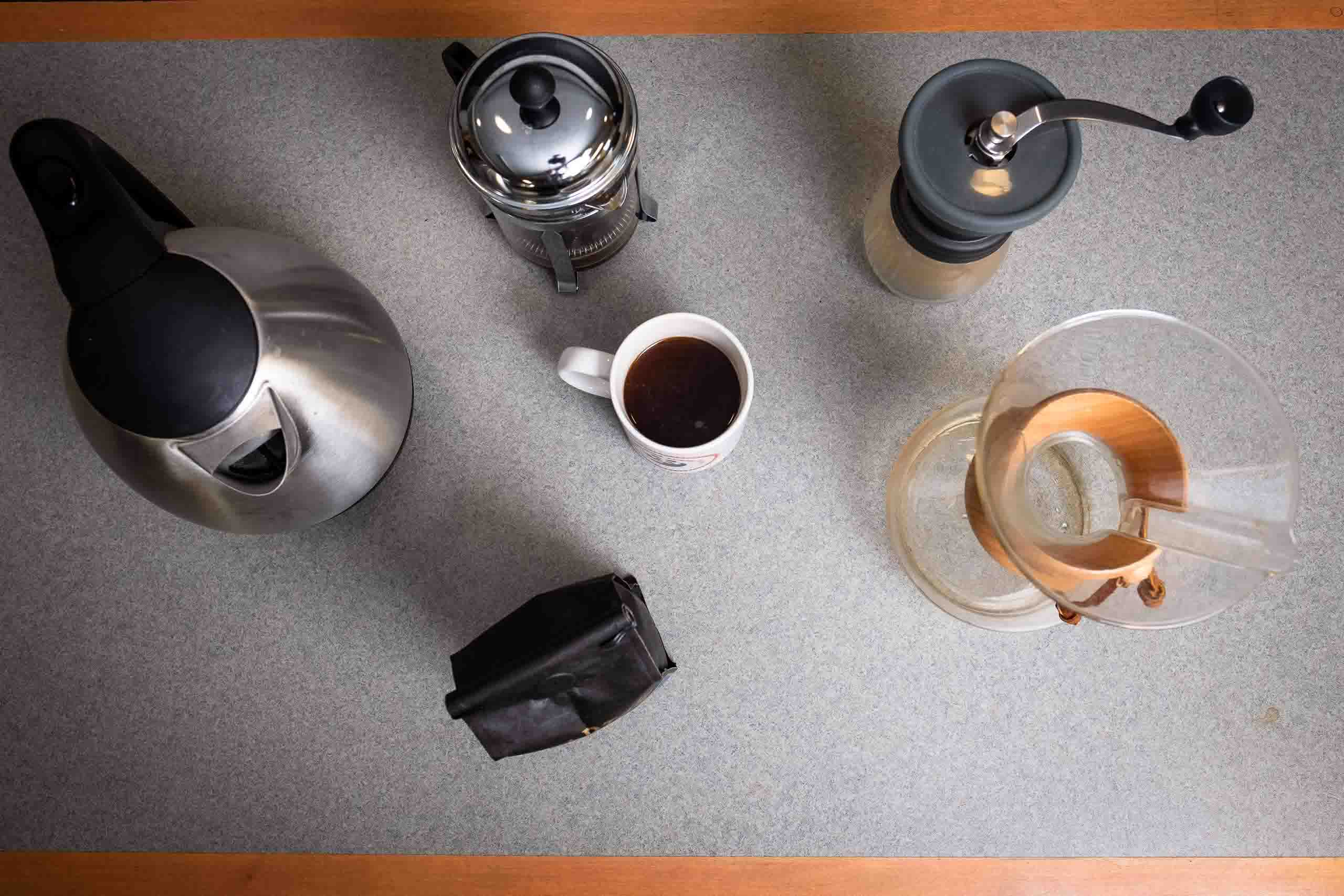 Various coffee-related items on a table